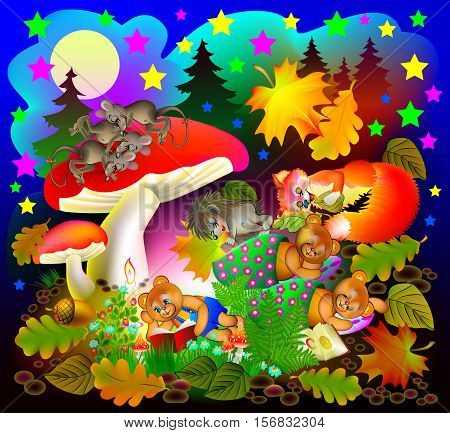 Illustration of fairyland fantasy night landscape with sleeping animals. Vector cartoon image.