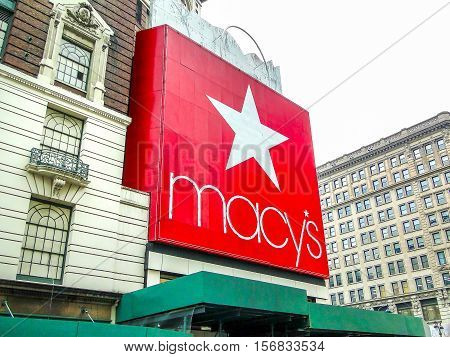 New York USA June 1 2011: The giant red macy 's logo at the entrance of the world's largest department store in Herald Square Manhattan.