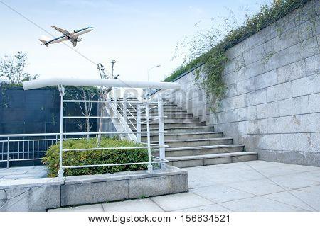 Modern city building Wheelchair access, barrier-free access.