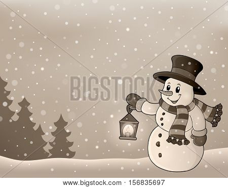Stylized winter image with snowman 3 - eps10 vector illustration.