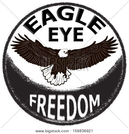 Label design with hand drawn eagle for posters t-shirts greeting cards etc. Symbol of freedom. Vector illustration.