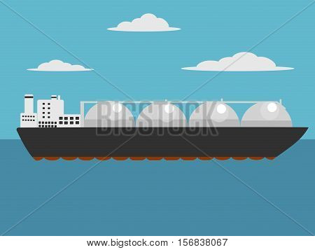 Liquefied natural gas carrier ship. Cartoon colorful hand drawn vector illustration