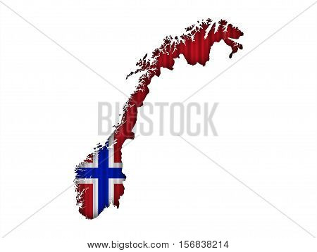 Map And Flag Of Norway On Corrugated Iron