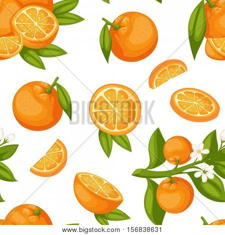 Orange fruit seamless pattern heap fresh orange slices. Seamless pattern with orange fruits design green leaf juicy. Vegetarian texture ripe art orange fruit seamless pattern vector.