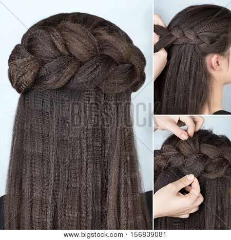 Process of weaving braid. Hairstyle for long hair. Boho style. Half-up hairstyle volume braided crown tutorial step by step. Hairstyle for long hair. Fashionable hairstyle for rippled hair