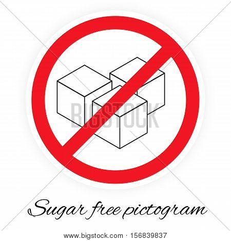 Vector illustration of sugar free pictogram stylized like traffic sign. Picture with three cubes of sugar.