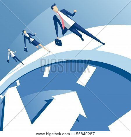 business people run on the white clock businessmen try to outrun time. business concept of time pressure and race against time vector illustration