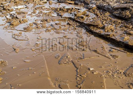 View of broken ice and dirt, dirty ice, ice background, ice texture