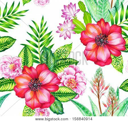 seamless vintage style botanical pattern with camellia, succulents, aloe vera, roses. detailed accurate botanical illustrations.