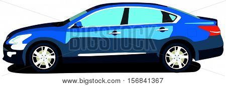 Vector Sedan Car most popular family saloon vehicle isolated background attractive blue color Japanese design fast drive safe trip long distance vacation holiday destination transportation object logo