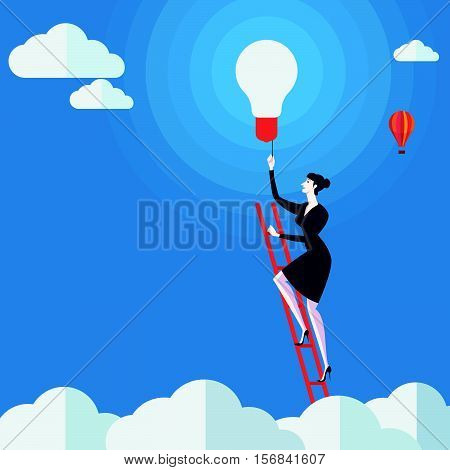 Young woman turn on the lights on a ladder above cloud. Vector Illustration Business concept a ladder Corporate of success.