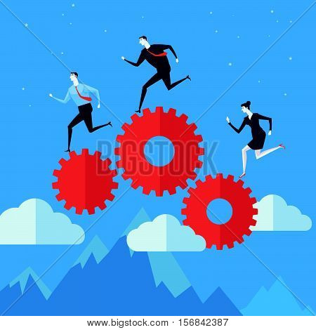 Teamwork running on gear system. Vector Illustration Business concept a ladder Corporate of success.