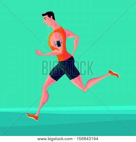 Sporty young man jogger listening to music on smartphone. Runner with smartphone armband. Vector Illustrator.