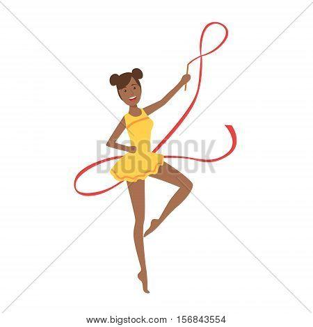 Black Professional Rhythmic Gymnastics Sportswoman In Yellow Leotard Performing An Element With Ribbon Apparatus. Female Competition Program Gymnast Performance Cartoon Vector Illustration.