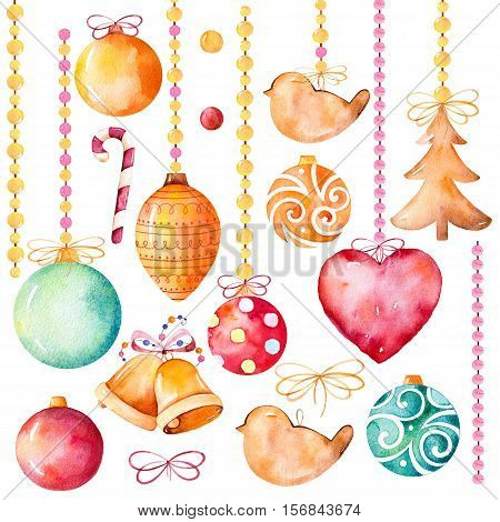 Watercolor collection of 19 high quality hand painted watercolor elements(bell,heart,Christmas balls,decorations) Christmas and New Year set.