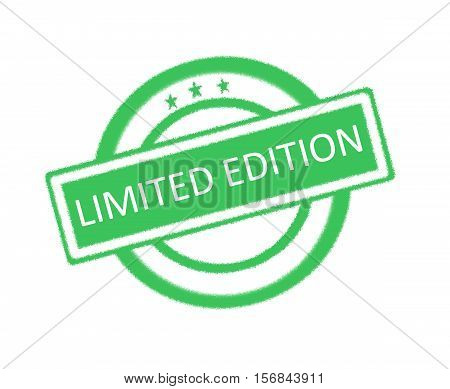 Illustration of limited edition word on green rubber stamp