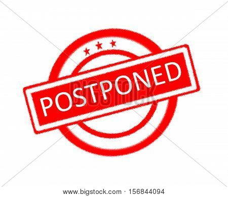 Illustration of postponed word written on red rubber stamp
