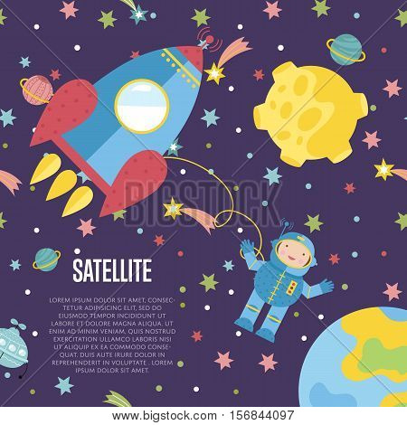 Satellite cartoon web template. Rocket with astronaut outer space among stars, planets, flying saucer vector illustration on violet background. For astronomical club, childrens cafe landing page