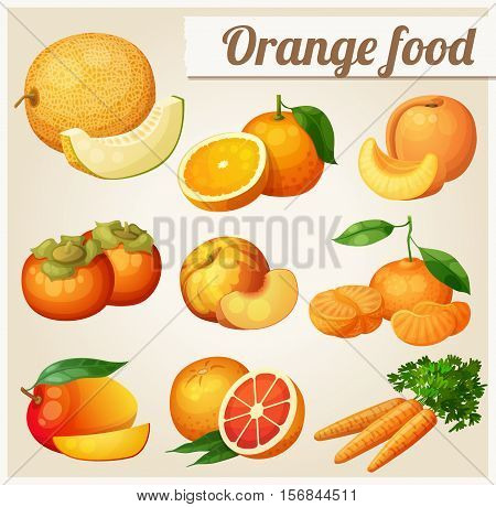 Set of cartoon food icons. Orange food. Melon, orange, peach, apricot, persimmon, mandarine, mango, grapefruit, carrot