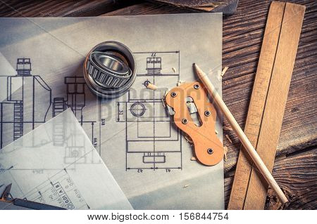 Mechanical Drawing Is Created From The Bearing