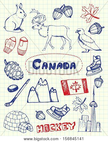 Canada associated symbols. Canadian national, cultural, architectural, nature, sports, tourist related hand drawn doodles on squared paper blue and red pen vector set. Sketched icons