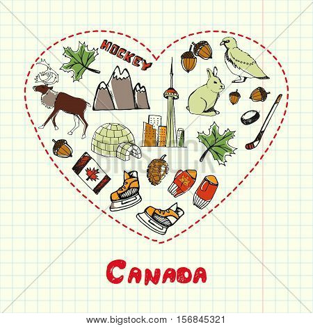 Love Canada. Dotted heart filled with colored doodles associated with canadian nation on squared paper vector illustration. North America journey memories. Sketched nature, sports, architecture icons