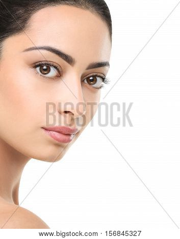 Beautiful indian girl with perfect skin make up closeup. Beauty and health care. Ideal portrait of brunette, isolated on white background, copy space