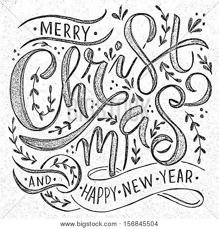 Hand sketched 2017 logotype badge and icon typography. Hand drawn lettering Merry Christmas and Happy New Year for Christmas/New Year greeting card invitation template. New 2017 Year and Christmas banner poster