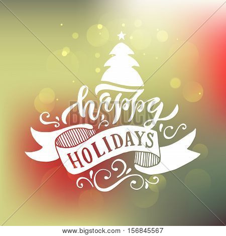 Hand Sketched Happy Holidays Logotype, Badge/icon Typography. Lettering 'happy Holidays' For Christm