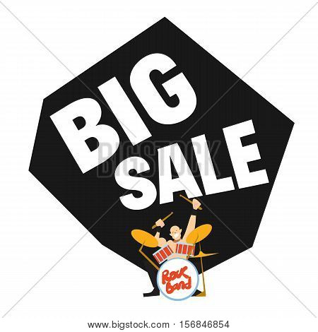 Big sale banner with rock drummer playing drum vector illustration. Advertisement template for music store. Big sale discount, best special price, exclusive offer, black friday sale.