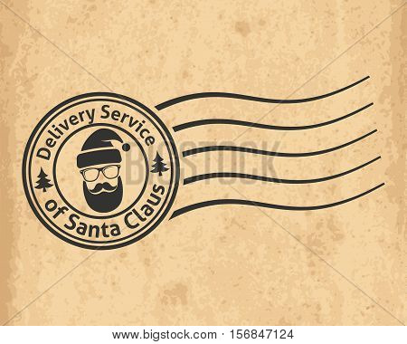 Postal Stamp Of The Delivery Service Of Santa Claus On Old Grungy Paper Background. Vector Illustrat