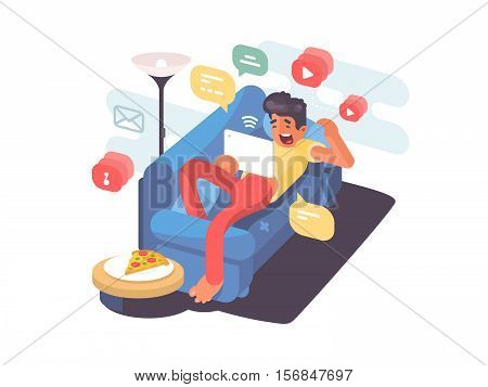 Man lying on couch with tablet and having fun on internet. Vector illustration