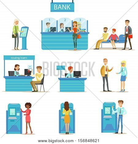 Bank Service Professionals And Clients Different Financial Affairs Consultancy, ATM Cash Manipulation And Other Business Set Of Illustrations. Smiling People In Bank Interiors Managing Their Finances With Professional Help From Office Employees Vector Ill