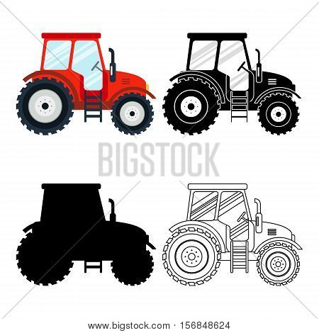 Set of flat red, black, thin line tractors on the white background. Farming vehicle icon machinery, agricultural transport - vector stock