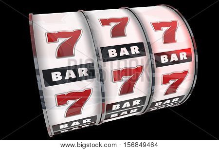 Slot Machine Concept Illustration. 3D Render. Lucky Sevens and the Bars Isolated on Black Background. Casino Theme.