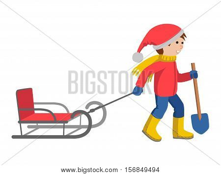 Little boy in winter clothes pulling a sled, cartoon style vector illustration isolated on white background. Little kid in big scarf and warm winter clothes with a toboggan