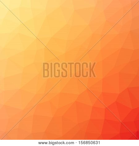 Low Poly Pattern Design. Large Cells. Vector Polygonal Background Filled With Yellow To Orange To Re