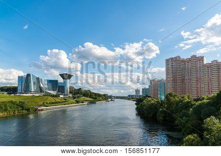Krasnogorsk, Russia - July 09.2016. General view of the floodplain Pavshinskaya