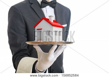3D Rendering Waiter Offering A House