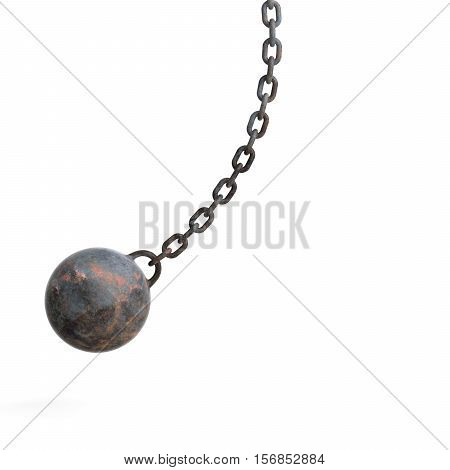 A 3d rendering hanging rusty wrecking ball