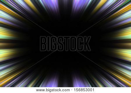 Colourful purple and yellow speed blur border with a black copy space centre