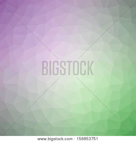 Low Poly Pattern Design. Medium Cells. Vector Polygonal Background Filled With Purple To Green Gradi