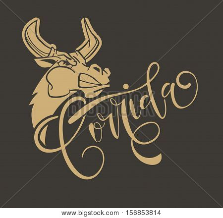 Corrida De Toros. Vector Illustration Aggressive Fighting Bull. Wild Buffalo Bull In Cartoon Style F