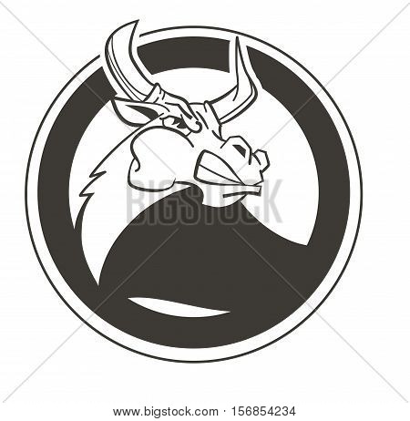 Vector Illustration Aggressive Fighting Bull. Wild Buffalo Bull In Cartoon Style For Mascot And Embl