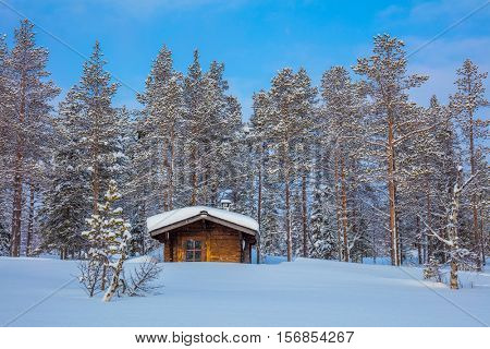 Winter forest Landscape after blizzard with small wooden lodge, big trees covered snow, beautiful winter weather