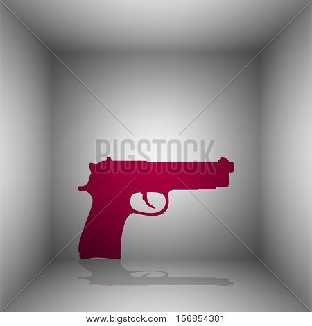 Gun Sign Illustration. Bordo Icon With Shadow In The Room.