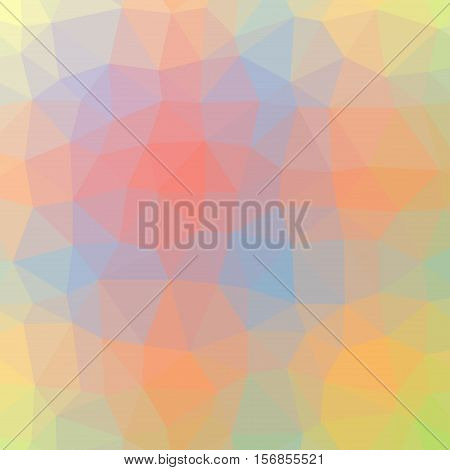 Low Poly Pattern Design. Large Cells. Vector Polygonal Background Filled With Multicolored Tinted Gr