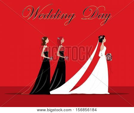 an illustration of a bride and bridesmaids dressed in a black and red theme with flowers and veil on a red background