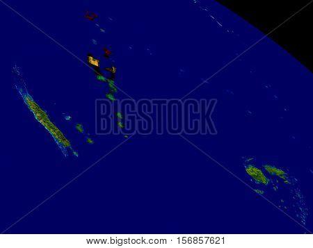 Vanuatu With Flag On Earth