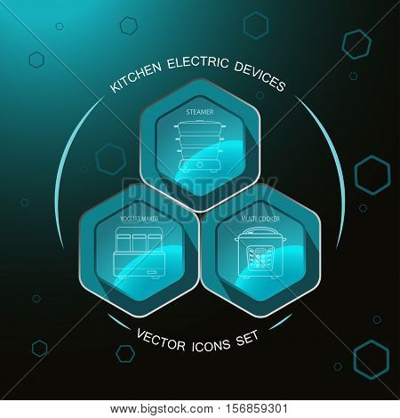 Kitchen electric devices - vector icons set on the hexagon dark turquoise background with steamer yogurt maker multi cooker.